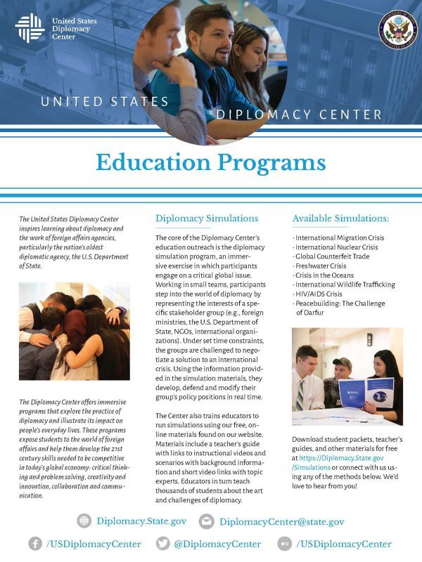 Education, Diplomacy Center, Students