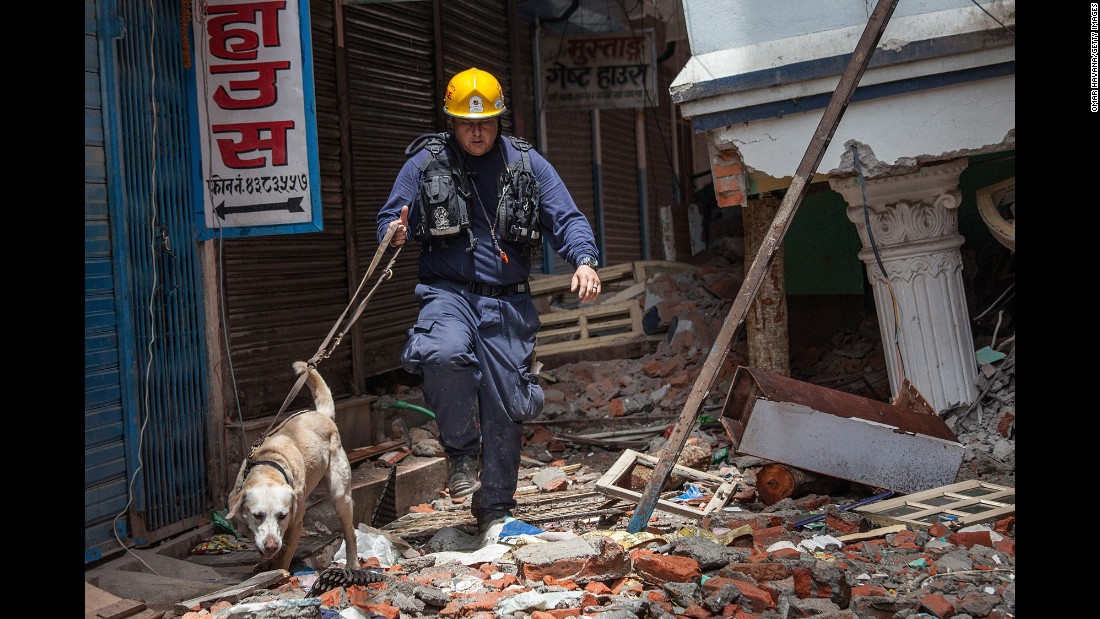 A USAID worker and his search and rescue dog search the rubble for victims of the earthquake.