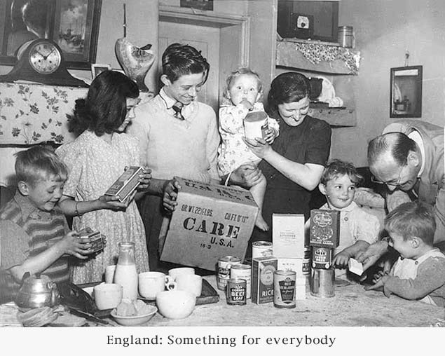 "An English family opens their ""care package"" filled with goods from the U.S."
