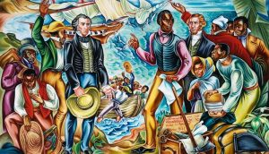 One of the Amistad Murals of Talladega College depicts the return of the repatriated slaves to Africa after the American Court System ruled in their favor.