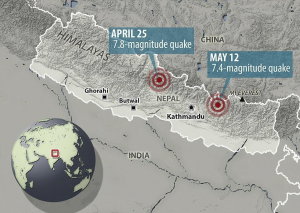 A map shows the locations of the two earthquakes that left Nepal in need of international assistance.