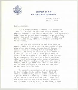 Letter from Ambassador Adolph Dubs to his daughter Lindsay March 3, 1973. This letter was donated to the Diplomacy Center from Letter from Lindsay in 2018.