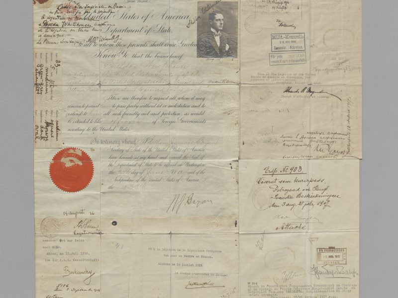 U.S. Special Passport Issued to Sheldon Whitehouse (Sr) 1914