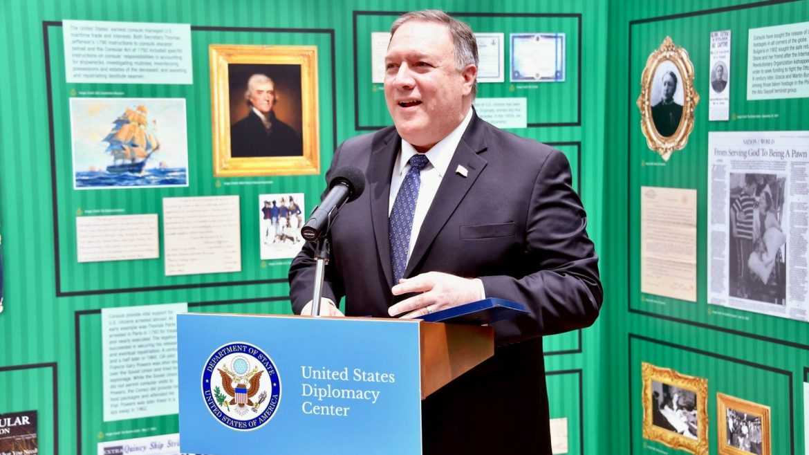 U.S. Secretary of State gives remarks at the United States Diplomacy Center guest exhibit on Consular Affairs.