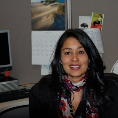 Woman in front of desk