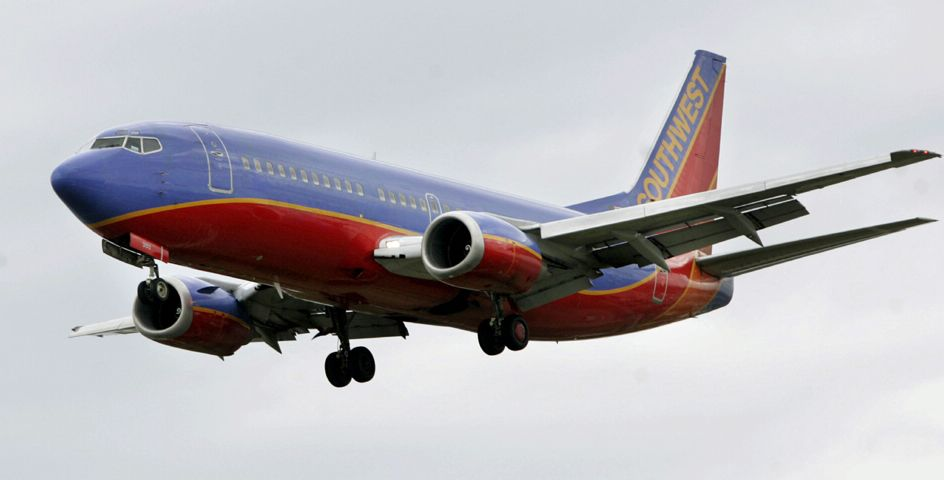 A Southwest Airlines aircraft prepares to land at Love Field in Dallas.