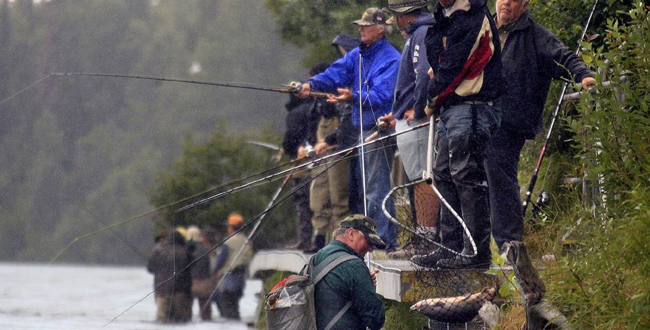 Fishermen in Alaska manage to catch salmon at a river that had been closed due to a weak return of migrant salmon.