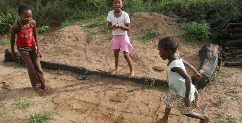 Children play hopscotch at Motjane, a town just outside Swaziland's capital, Mbabane, where finding food to feed the next generation is becoming harder and harder.