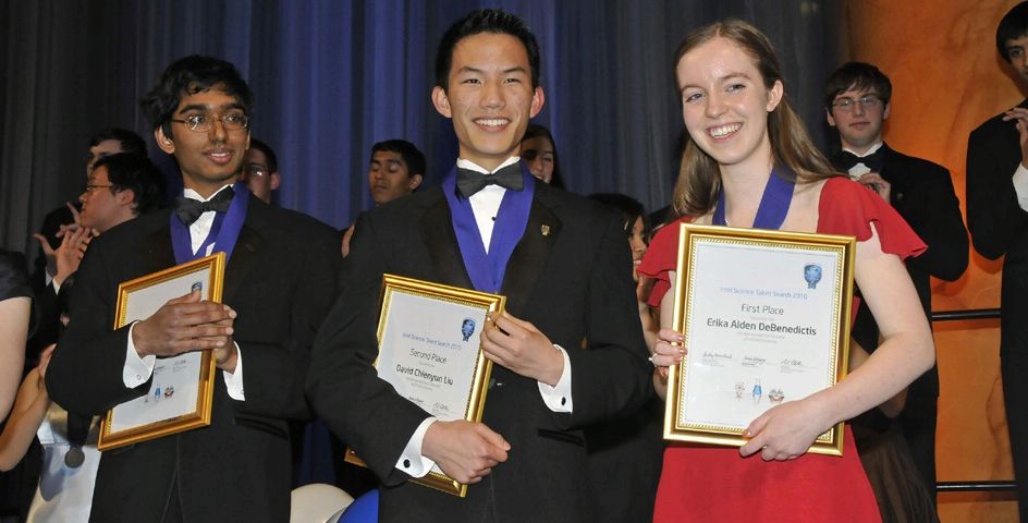 The top three winners of the 2010 Intel Science Talent Search pose with their medals at the awards gala.