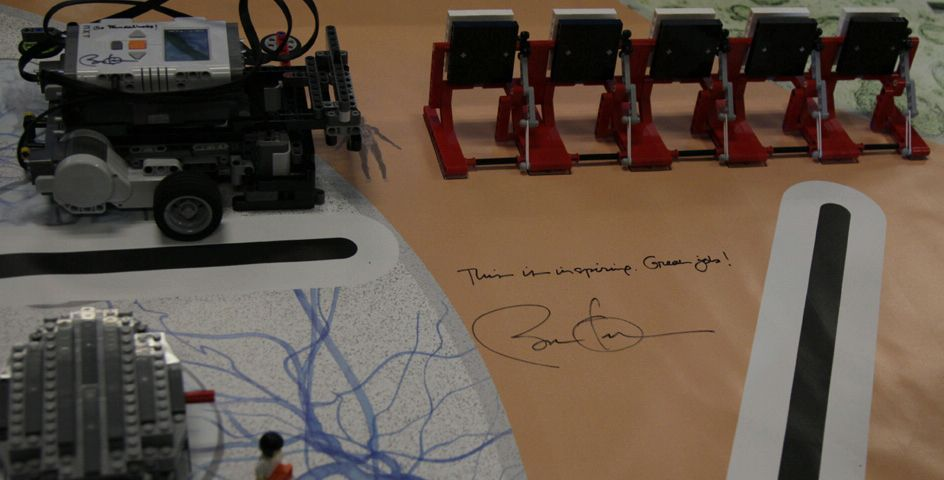President Barack Obama signed the project by an Intel Science Talent Search finalist at the Intel Corporation, Hillsboro, Oregon.