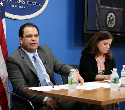 "Rakesh Kochhar, Ruth Gaviria, and Lucia Ballas-Traynor briefing at the New York Foreign Press Center on ""The Growing U.S. Hispanic Population: Impact on the U.S. Economy and Business."""