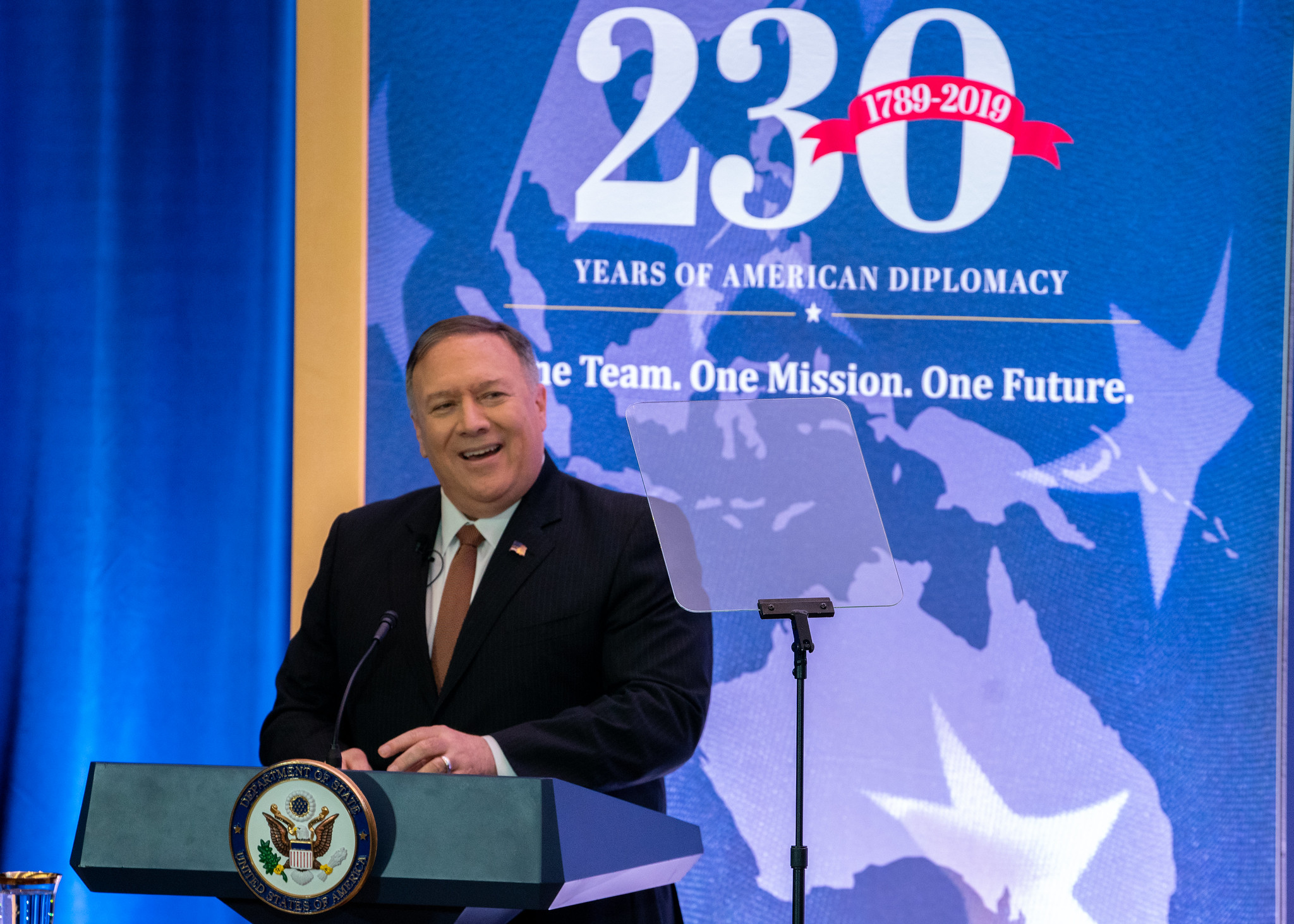 Pompeo speaks in front of 230th anniversary banner