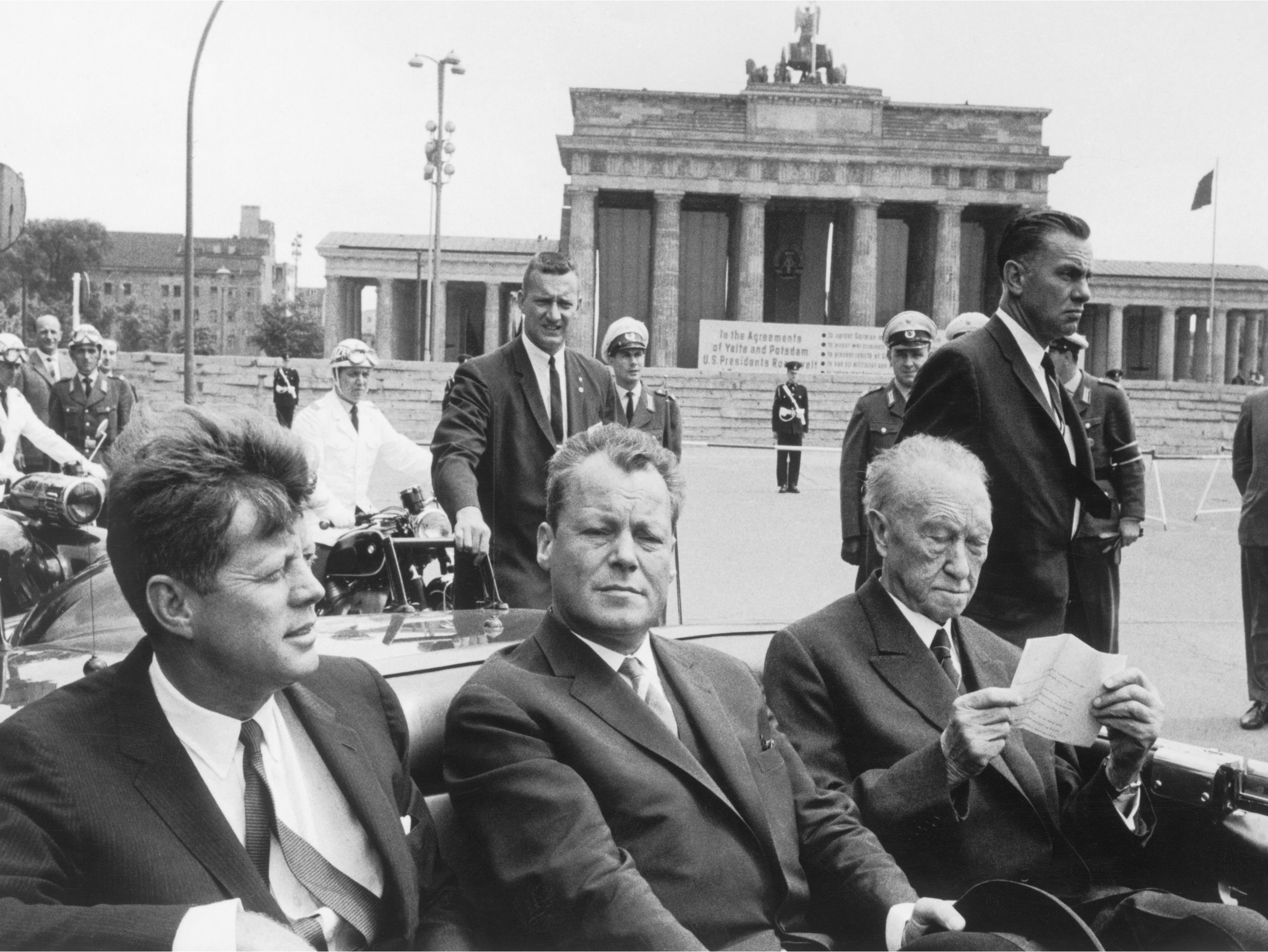 Photograph of U.S. President John F. Kennedy during a visit to West Berlin on June 26, 1963