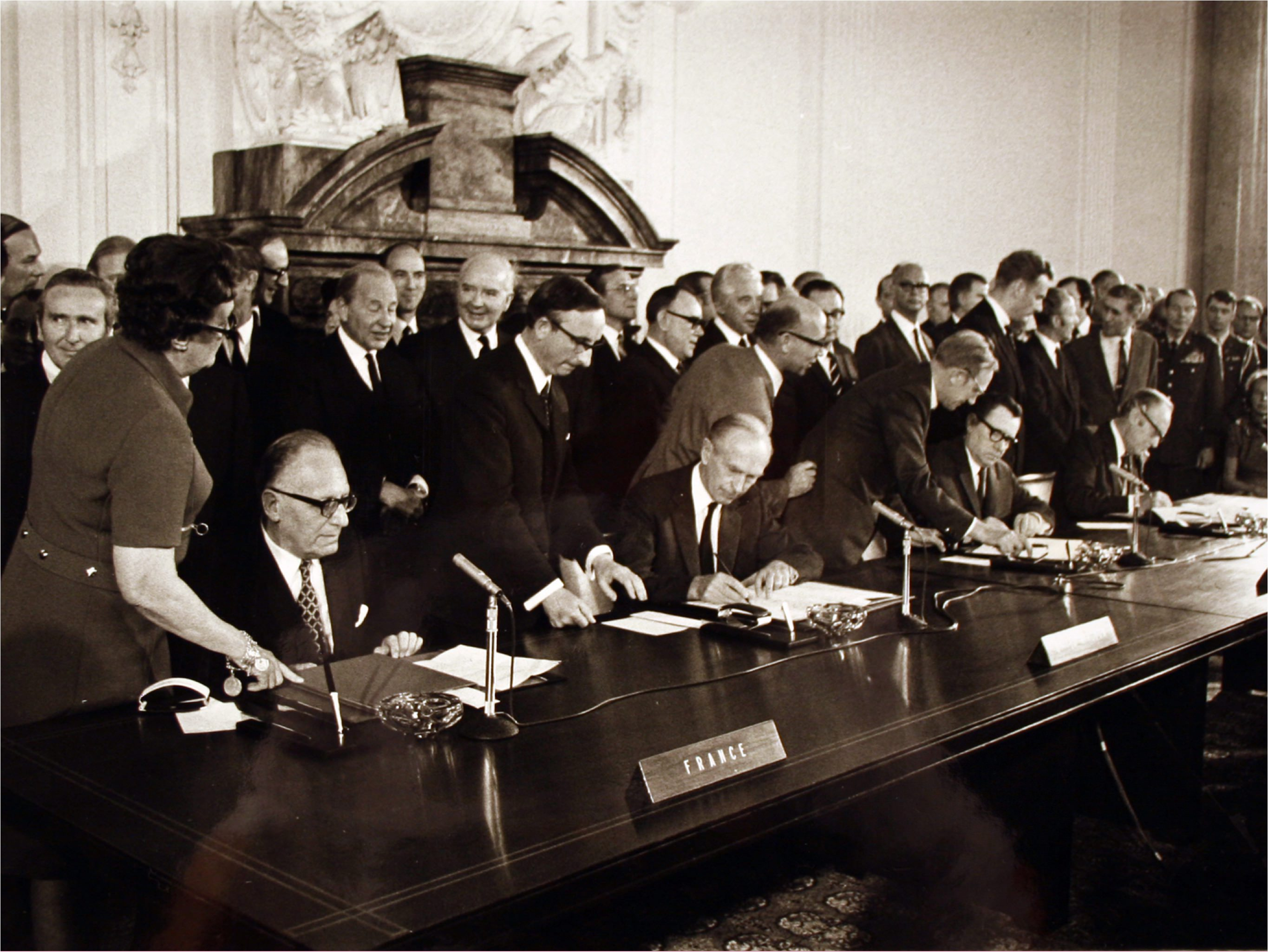 From left, French Foreign Minister Maurice Schumann, British Foreign Minister Alexander Douglas-Home, Russian Foreign Minister Andrei Gromyko and U.S. Secretary of State William Rogers sign the final protocol of the four power Berlin agreement in West Berlin.