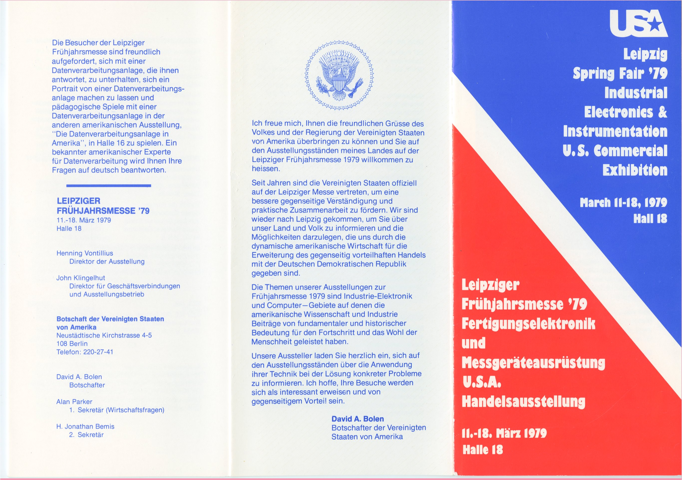 This bilingual flier announces the U.S. Information Agency's contribution to and participation in the Leipzig Fair.