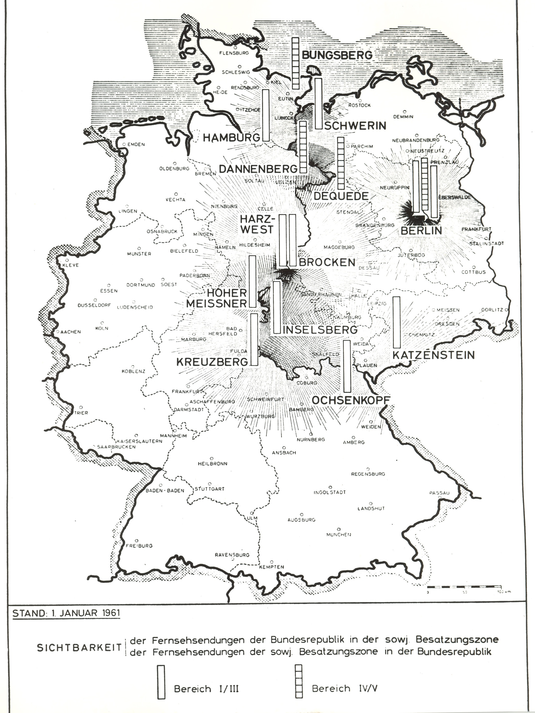Map showing visibility range of West German and Soviet Zone television broadcasts