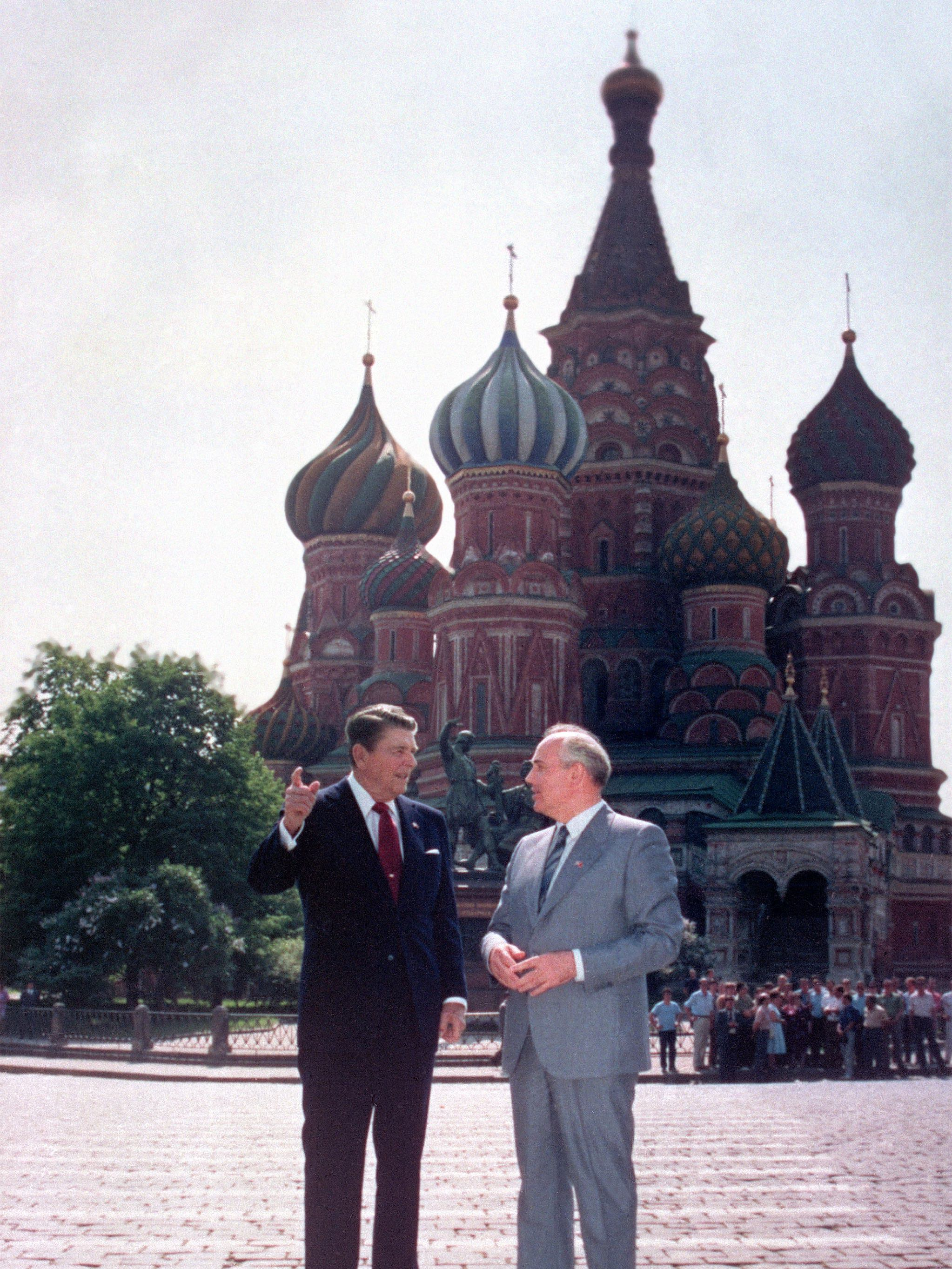 Ronald Reagan and Mikhail Gorbachev in Red Square, Moscow