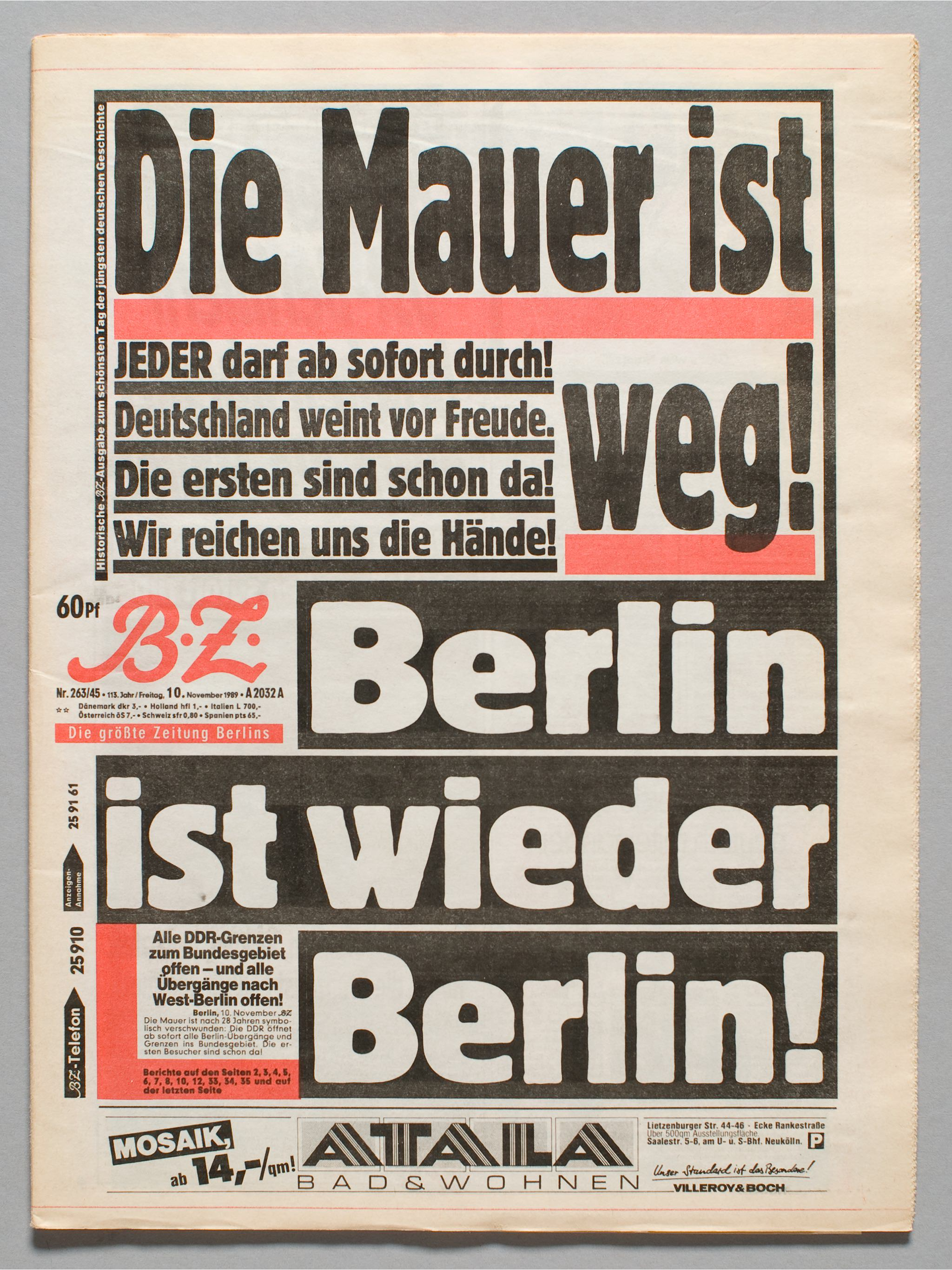 German newspaper B.Z. announcing fall of Berlin Wall