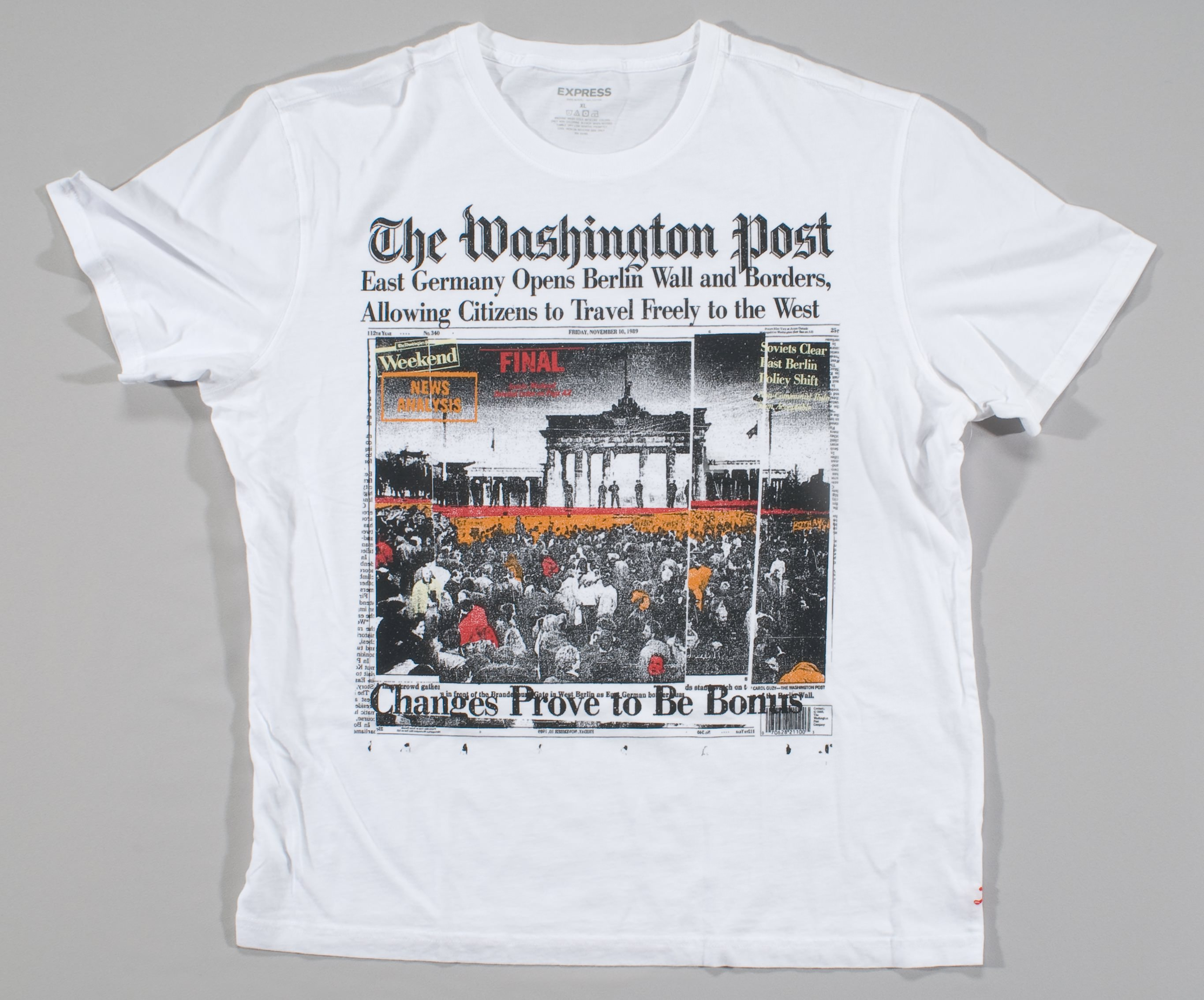 T-shirt with screened image of artistic rendering of the front page of the Washington Post, November 10, 1989.