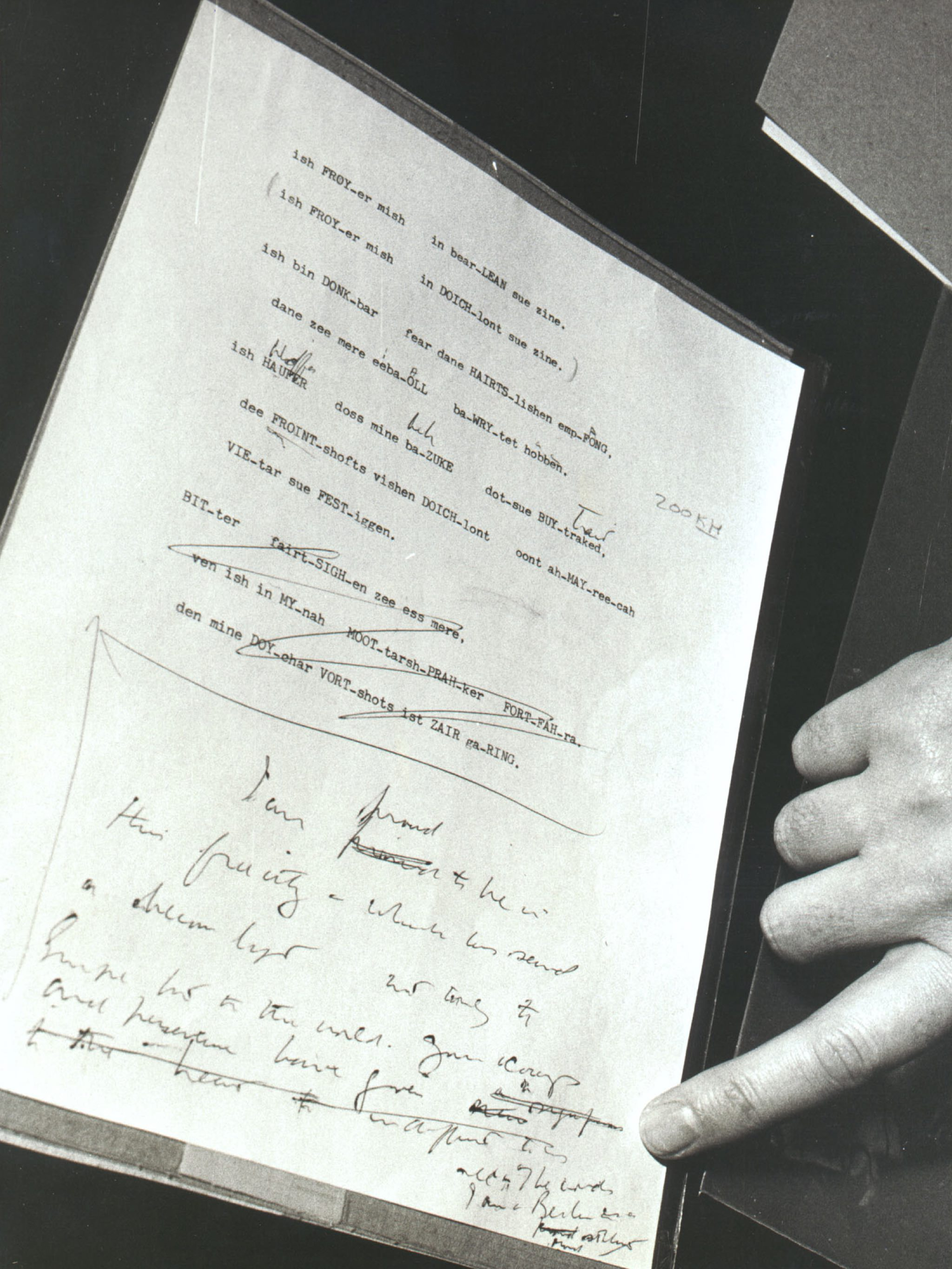 Image of modifications made to President John Kennedy's famous I Am a Berliner speech by U.S. Diplomat, Robert Lochner