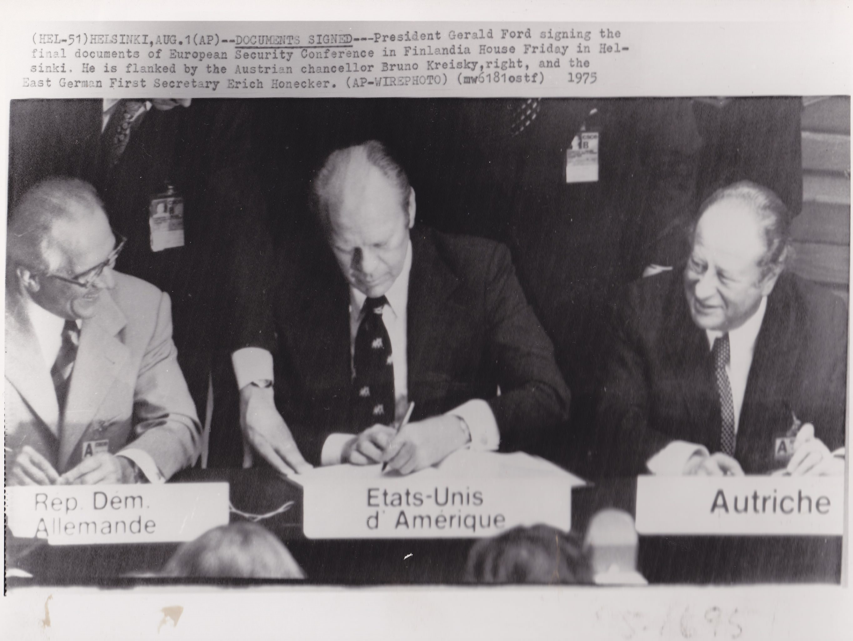 Signers of the 1975 Helsinki Accords in Finland include East German General Secretary Erich Honecker (left), U.S. President Gerald Ford (center) and Austrian Chancellor Bruno Kreisky (right).