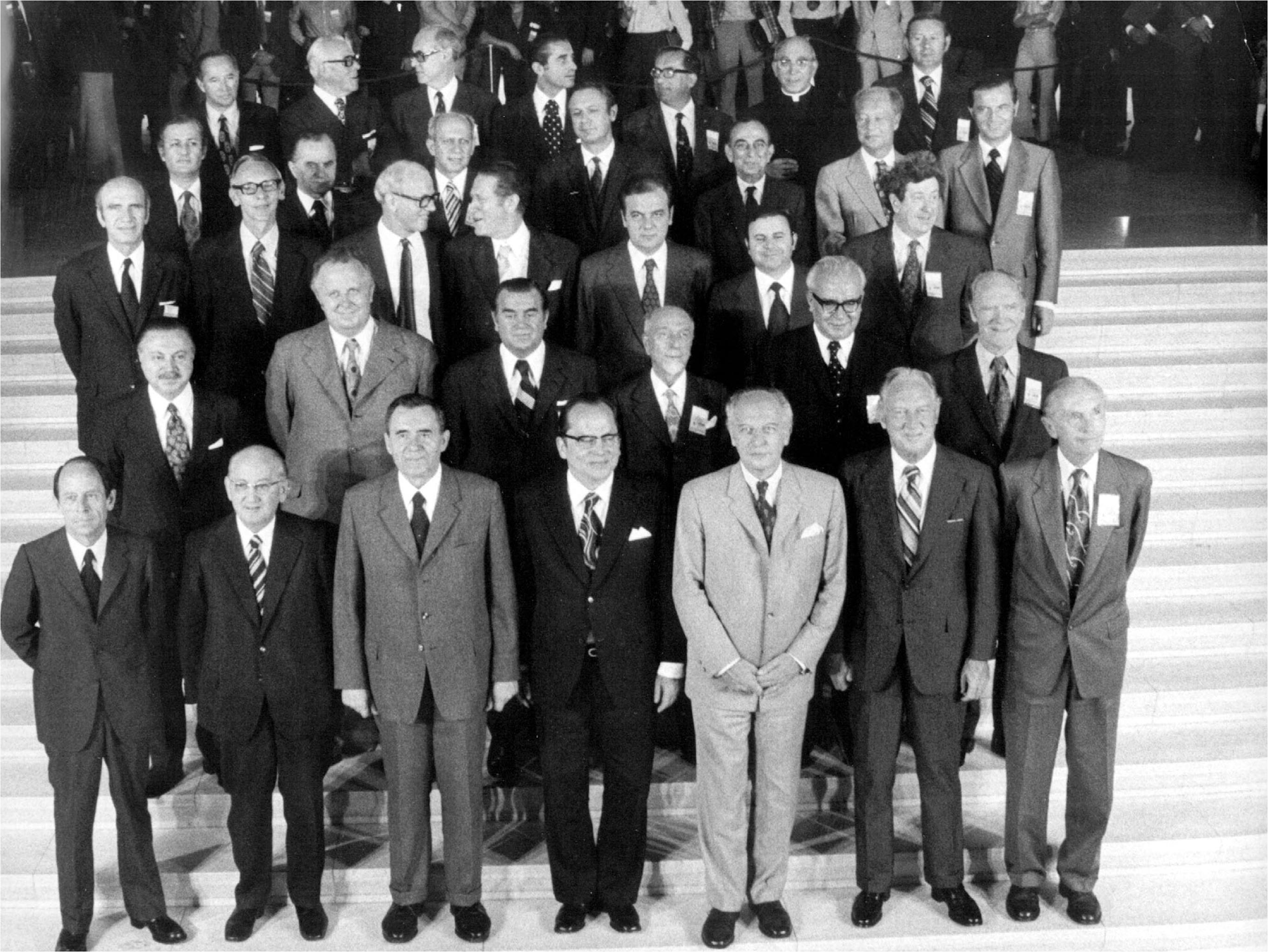 Thirty-four of the foreign ministers who negotiated the Helsinki Accords gathered in this joint 1973 photo in Finland.