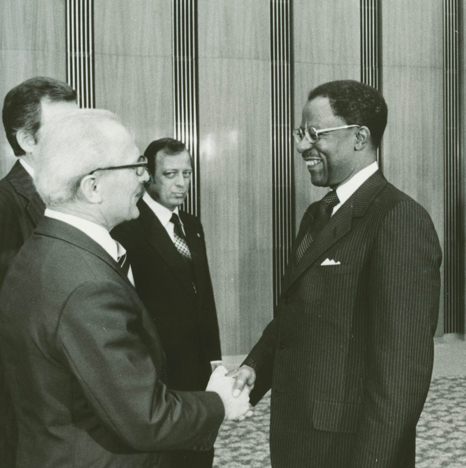 U.S. Ambassador David Bolen (right) greets East German Chairman of the Council of State Erich Honecker upon Bolen's presenting his credentials in 1977.