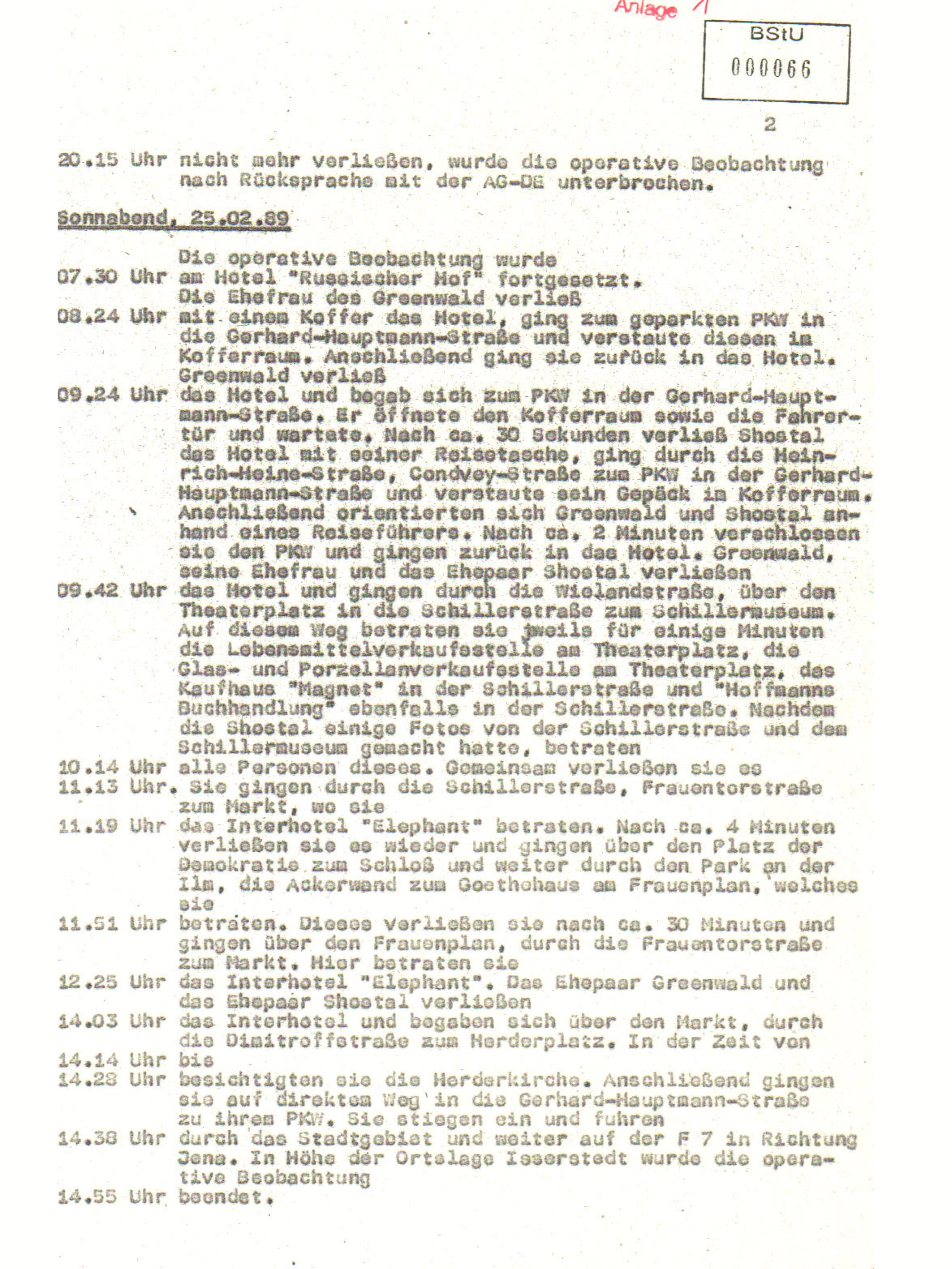 The words reproduced in the image here are from the surveillance file on U.S. diplomat G. Jonathan Greenwald, East Berlin, compiled by the Stasi, or East German secret police.