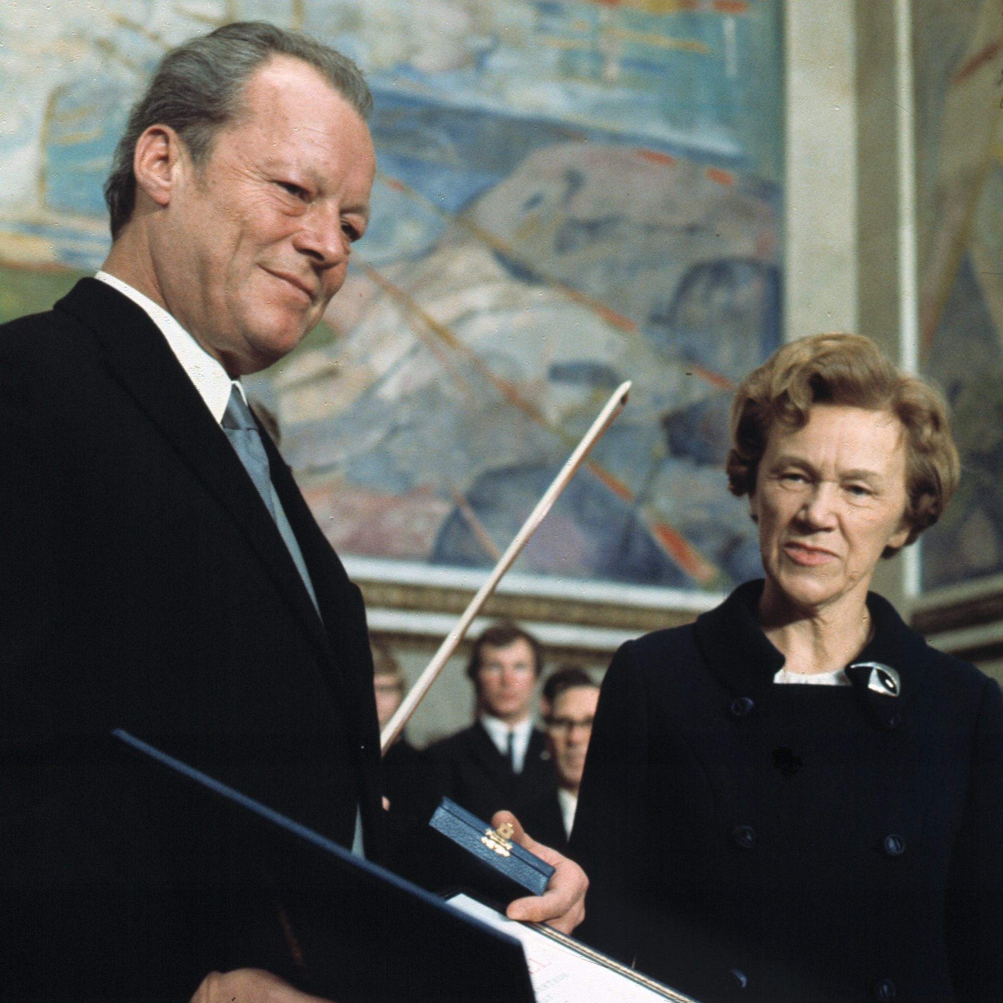 West German Chancellor Willy Brandt accepting the Nobel Peace Prize in 1971