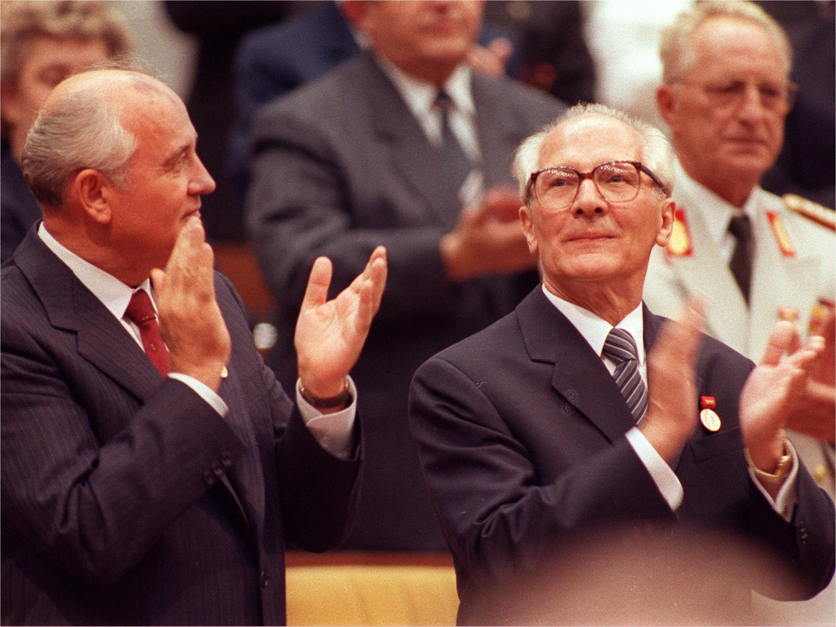 Soviet General Secretary Mikhail Gorbachev, left, and East German General Secretary Erich Honecker