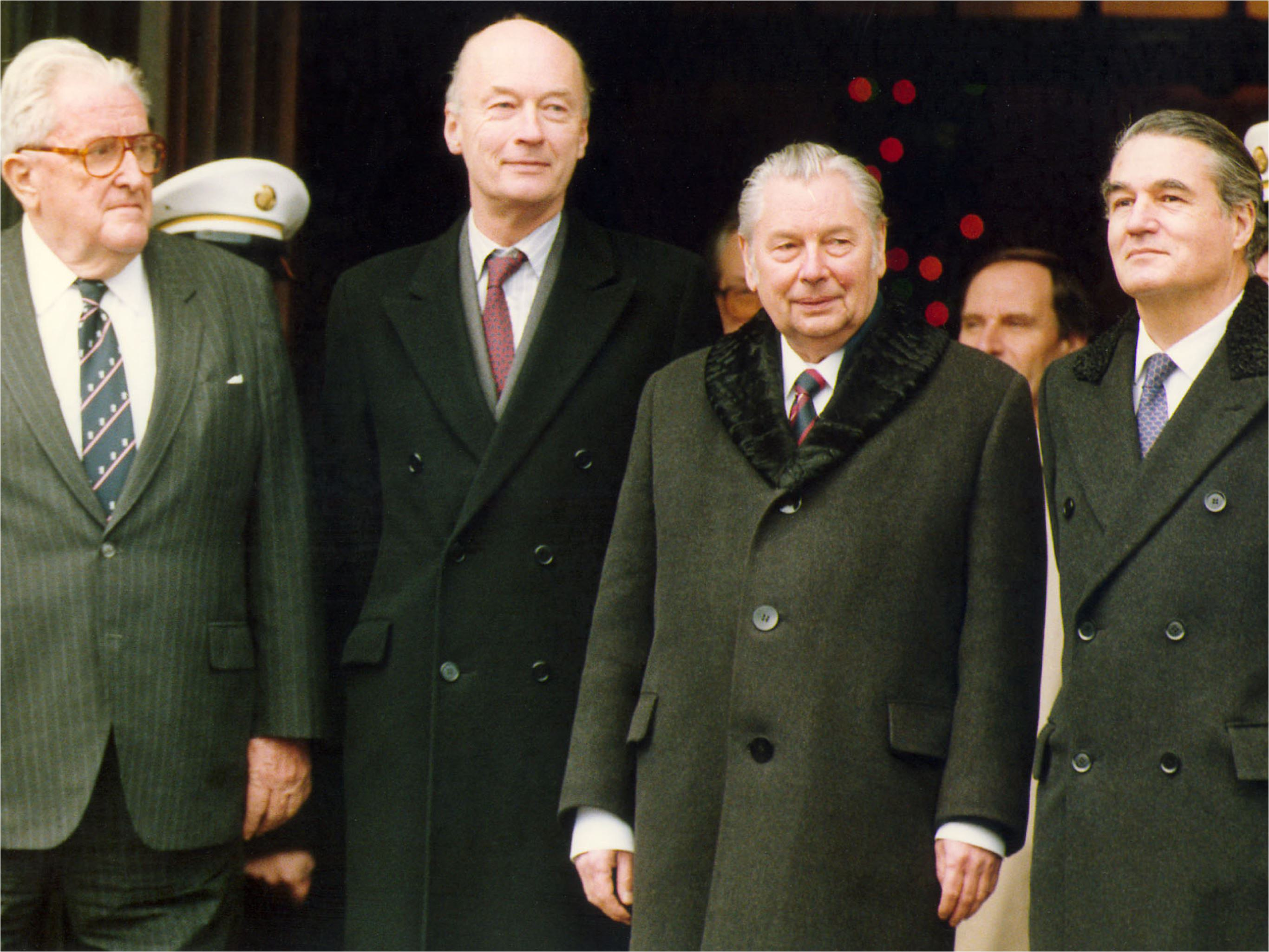 From left to right are: Vernon Walters (U.S.), Sir Christopher Mallaby (Great Britain), Wjatsheslav Kotshemassov (Soviet Union) and Serge Boidevais (France).