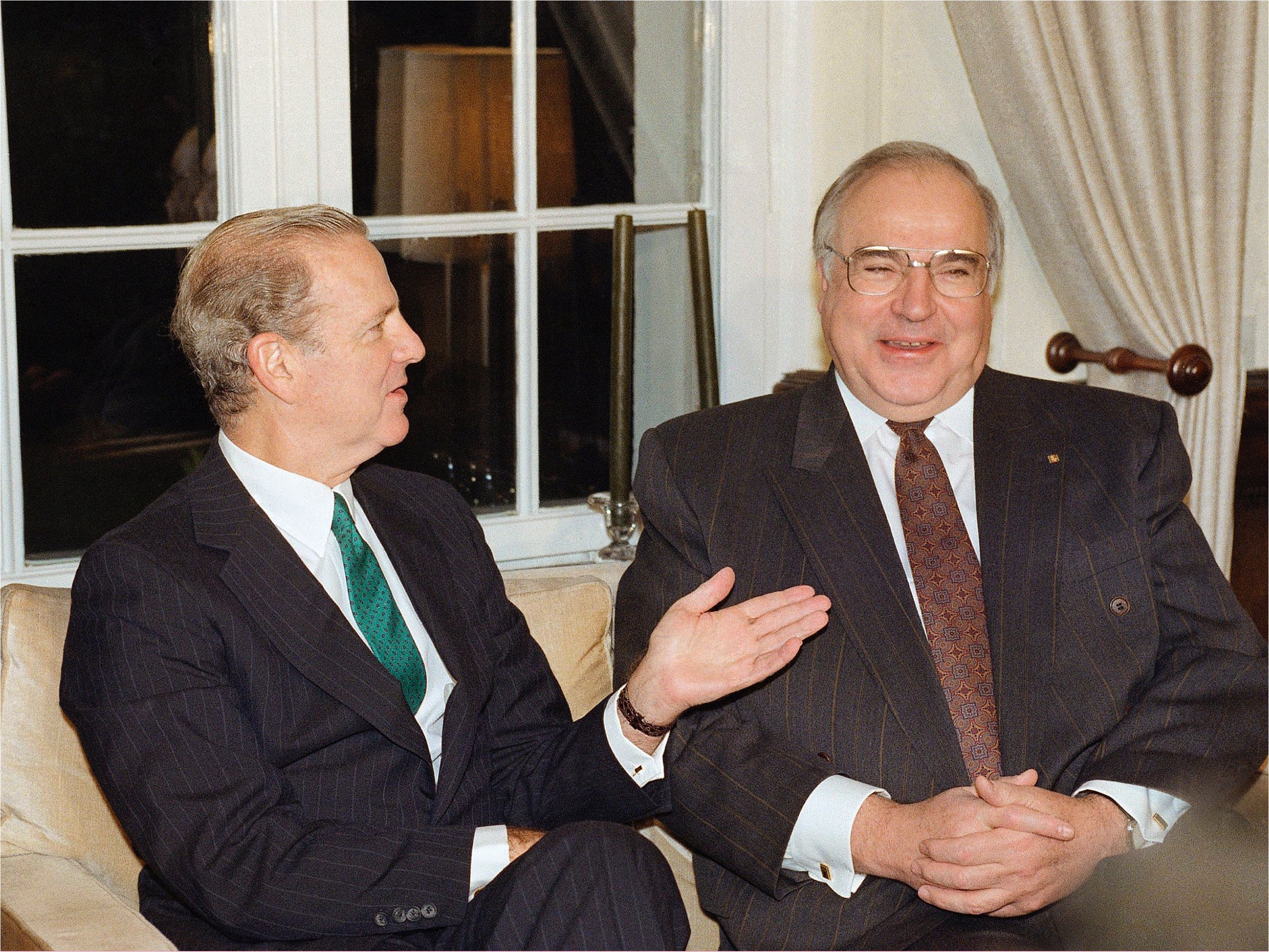 Secretary of State James Baker meets with German Chancellor Helmut Kohl