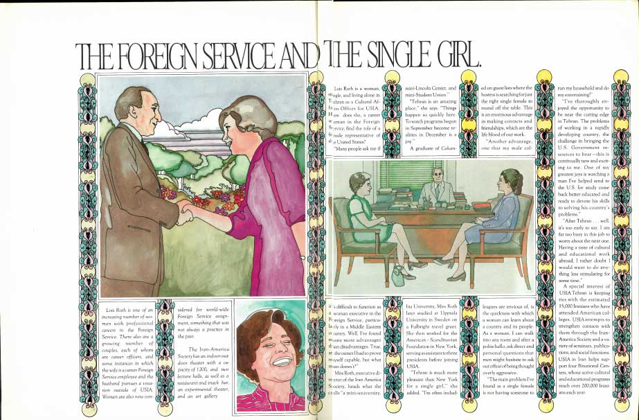 """Illustrated magazine featuring Lois Roth, """"The Foreign Service and the Single Girl"""""""