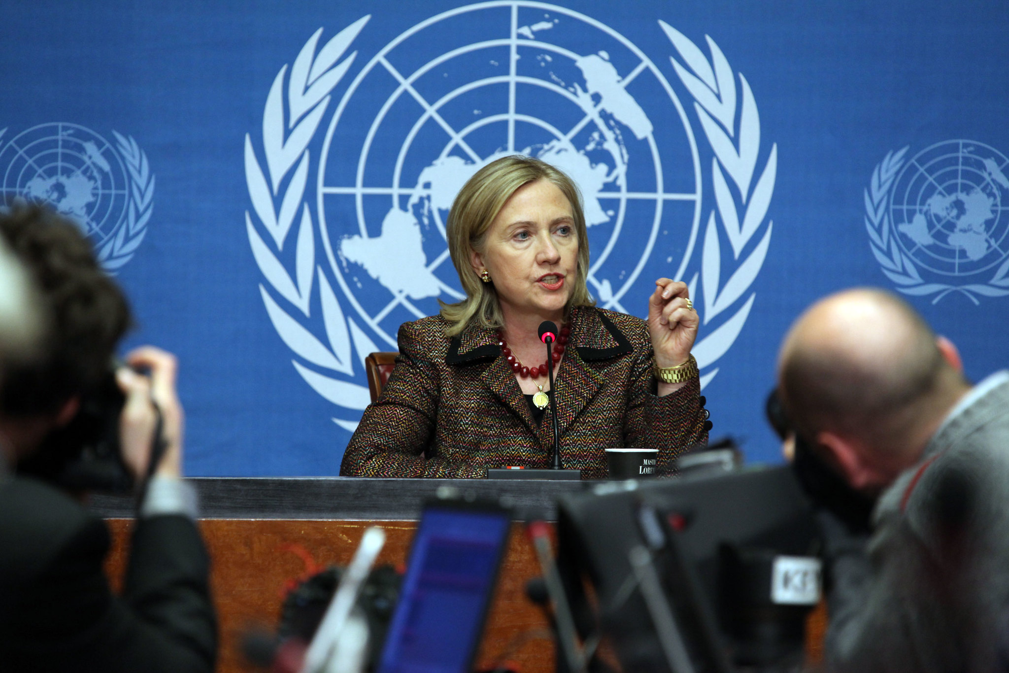 Secretary Clinton speaks at a press conference at the United Nations Office at Geneva, Switzerland, February 28, 2011. The Secretary took questions from the press after addressing the Human Rights Council and the Conference on Disarmament.