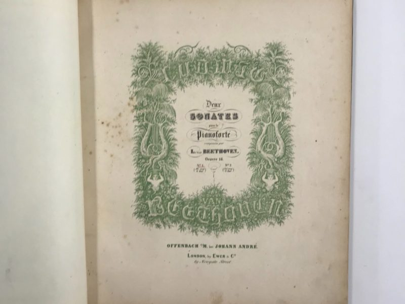 Rare reprints of Beethoven's Sonatas by Johann André (sonata title page shown), gift of German Foreign Minister Dr. Frank-Walter Steinmeier to Secretary Rice during his visit to Washington, DC. Secretary Rice is a concert pianist and shared her talents on several occasions during her tenure. Collection of the National Musuem of American Diplomacy.