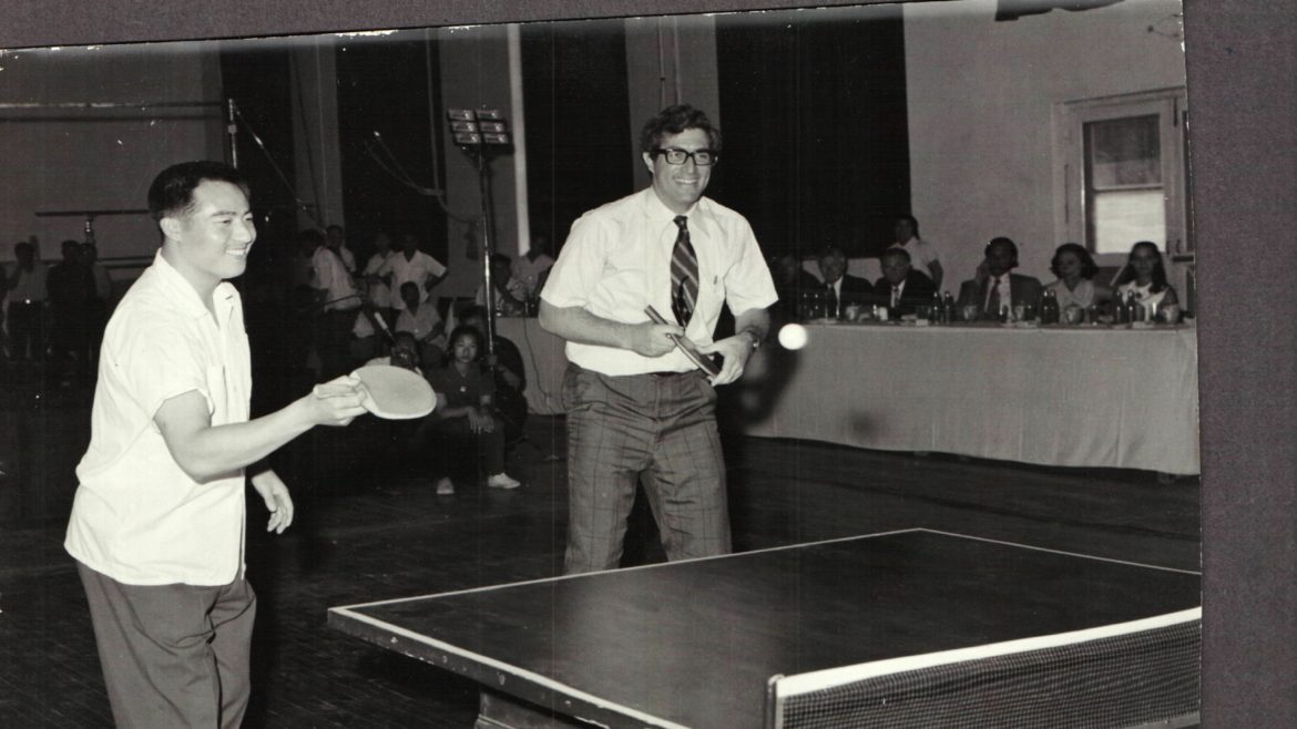 """Richard Solomon, a China scholar and diplomat, during a period of """"Ping-Pong diplomacy."""" Here he is pictured with Zhuang Zedong in 1972. (Solomon Family Photo)"""
