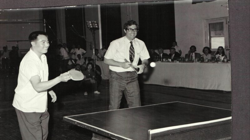 "Richard Solomon, a China scholar and diplomat, during a period of ""Ping-Pong diplomacy."" Here he is pictured with Zhuang Zedong in 1972. (Solomon Family Photo)"