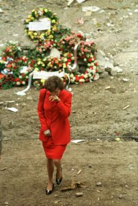 American Ambassador to Kenya Prudence Bushnell is overcome by emotion after laying a wreath at the site of the Nairobi U.S. Embassy bombing Wednesday, Aug. 12, 1998. More than 250 people were killed and more than 5,500 were wounded in the twin bombings Friday in Kenya and Tanzania.