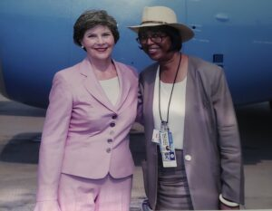 In her leadership roles as a Public Affairs Officer, Claudia had the opportunity to meet and plan visits for top level officials including First Lady Laura Bush