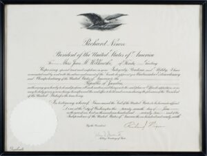 Commission appointing Jean Wilkowski as U.S. Ambassador to Zambia, signed by Richard Nixon on June 27, 1972. Collection of the National Museum of American Diplomacy.
