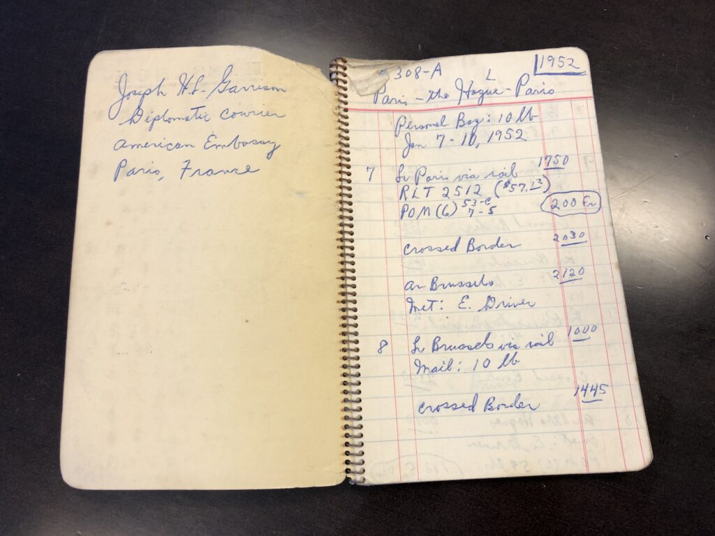 This notebook was used by Garrison during his travels to keep track of his arrival times, travel expenditures, and other details related to his work.