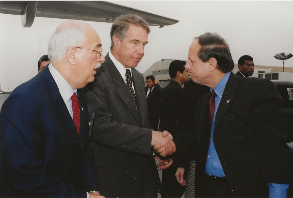 Gutiérrez about to board the plane with Secretary Powell to DC on 9-11